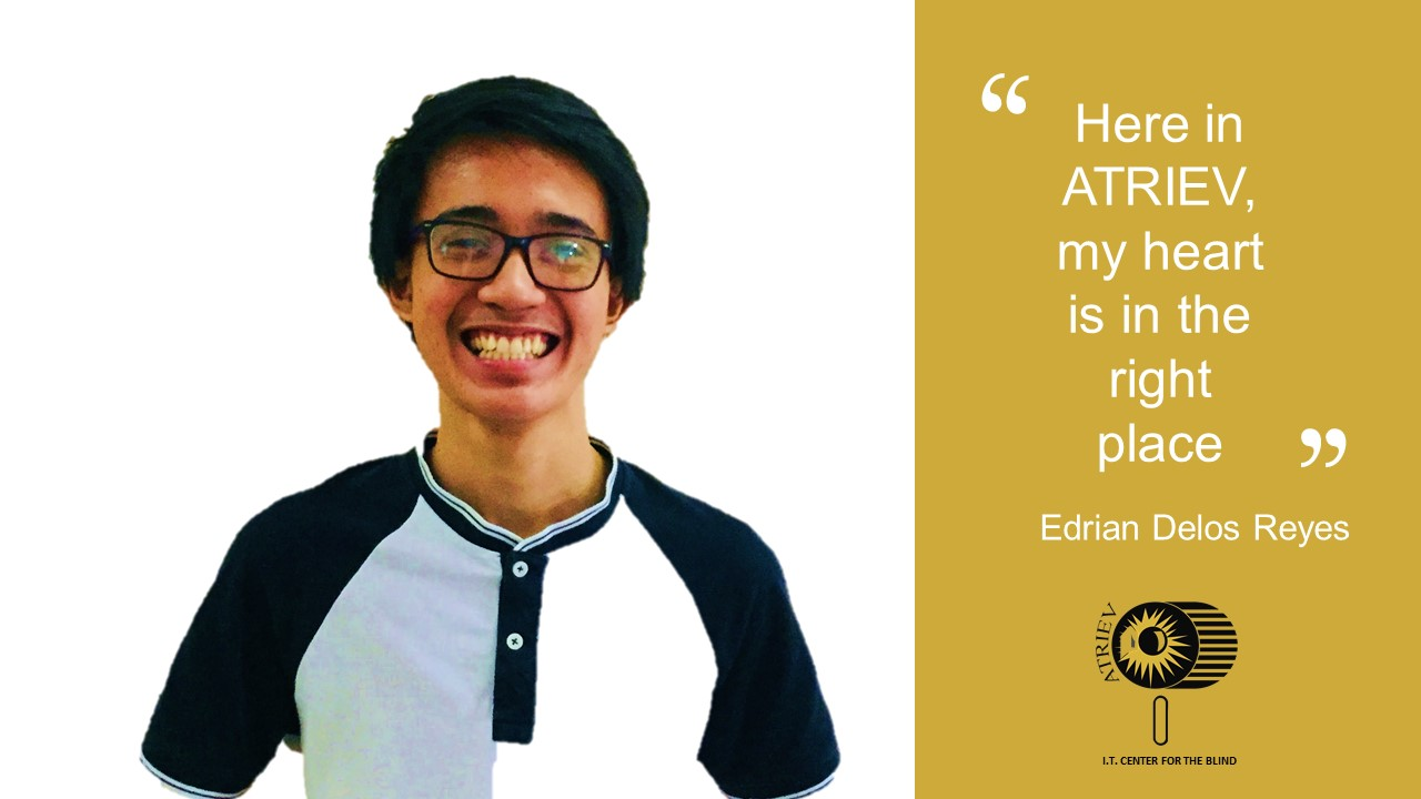 Image of Edrian Delos Reyes smiling and text.