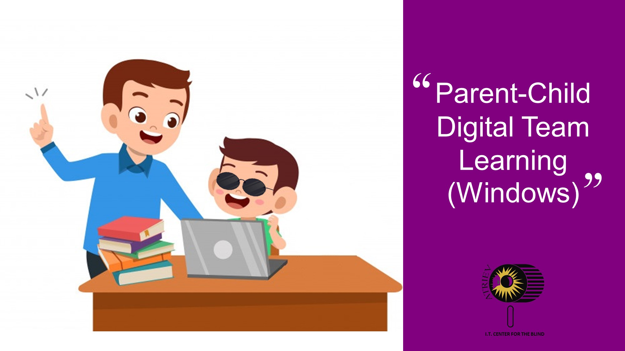 """A quote card that says, """"Parent-Child Digital Team Learning (Windows)"""