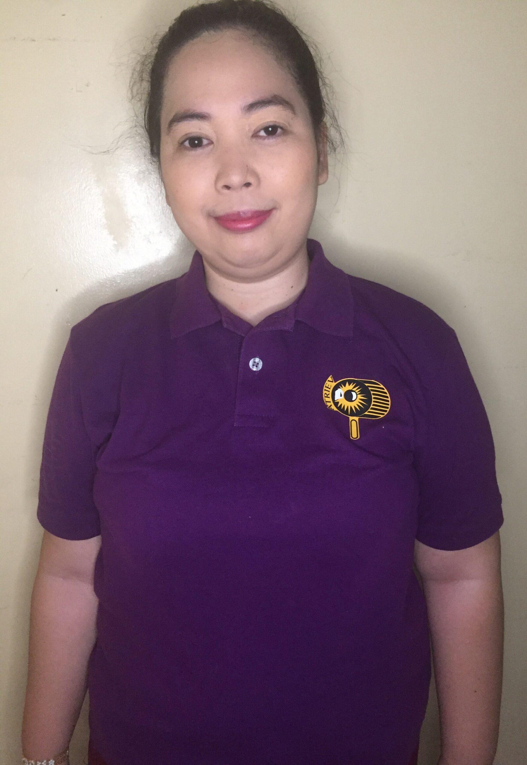 Ma'am Karla wearing the ATRIEV polo shirt