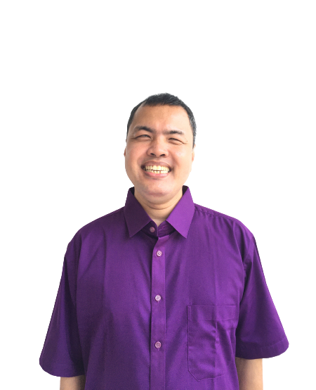 Sir Roden wearing a violet polo shirt